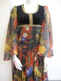 1970's Gypsy printed chiffon vintage maxi dress Kati at Laura Phillips **SOLD** es